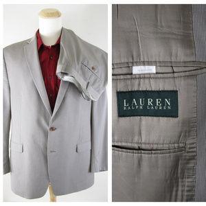 Ralph Lauren Beige Micro Stripe Wool Suit 48L